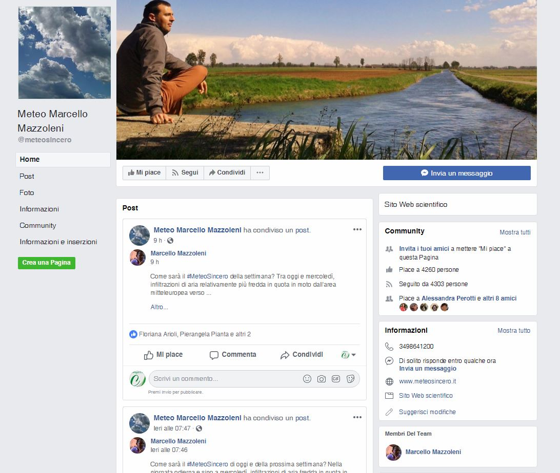 meteo sincero su facebook